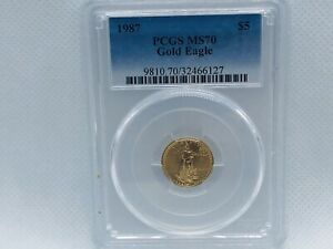 1987-1-10-OZ-GOLD-AMERICAN-EAGLE-COIN-MS-70-PCGS-5-DENOMINATION
