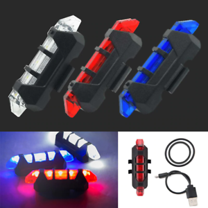 USB Rechargeable Bike Tail Light Bicycle Safety Cycling Warning Rear Lamp 5LED S
