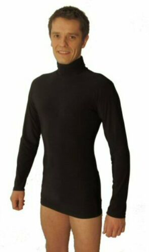 BLACK BEIGE MENS STRETCHY EASY CARE POLO NECK TOP