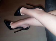 High Heels Stiletto D`Orsay Pumps Schwarz Lack 13 cm absatz in Gr. 37 oder 40