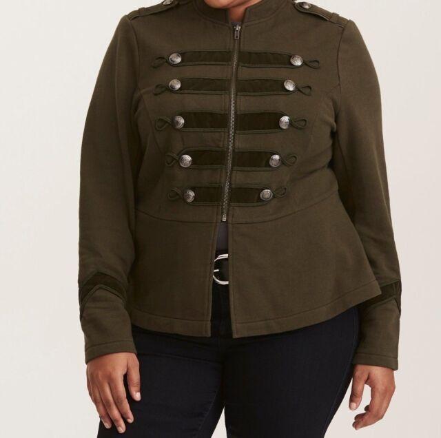 21d716f71a9 Torrid Olive Green Embellished Zip Front Military Jacket 00X Med Large 10   24756
