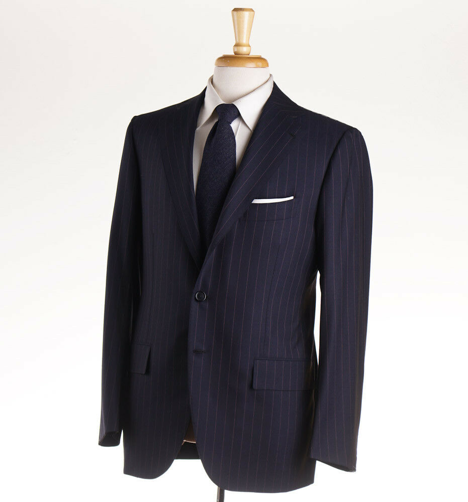 NWT 6500 CESARE ATTOLINI Navy Blau-Violet Stripe Wool Suit Slim 46 R (Eu 56)