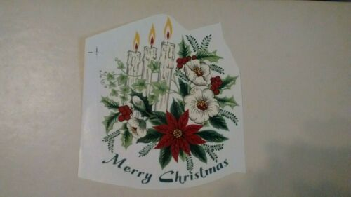 """4   WATERSLIDE DECAL Merry Christmas candles and flowers 5/"""" x 4 1//2/"""""""