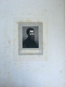 Incisione Ritratto Con Tampone Secco Dipinto di Jules Romano Fred Weber 1844