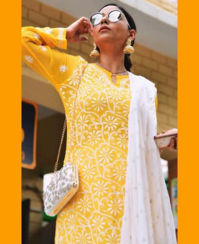 Diwali Look Lucknawi Yellow Chikankari Kurti Ethnic Party Wear Georgette Kurta