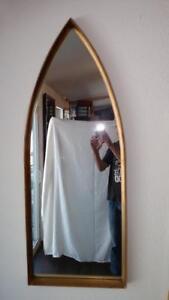 Stunning Hollywood Regency Gold Leaf Deep Wood Frame Cathederal Mirror