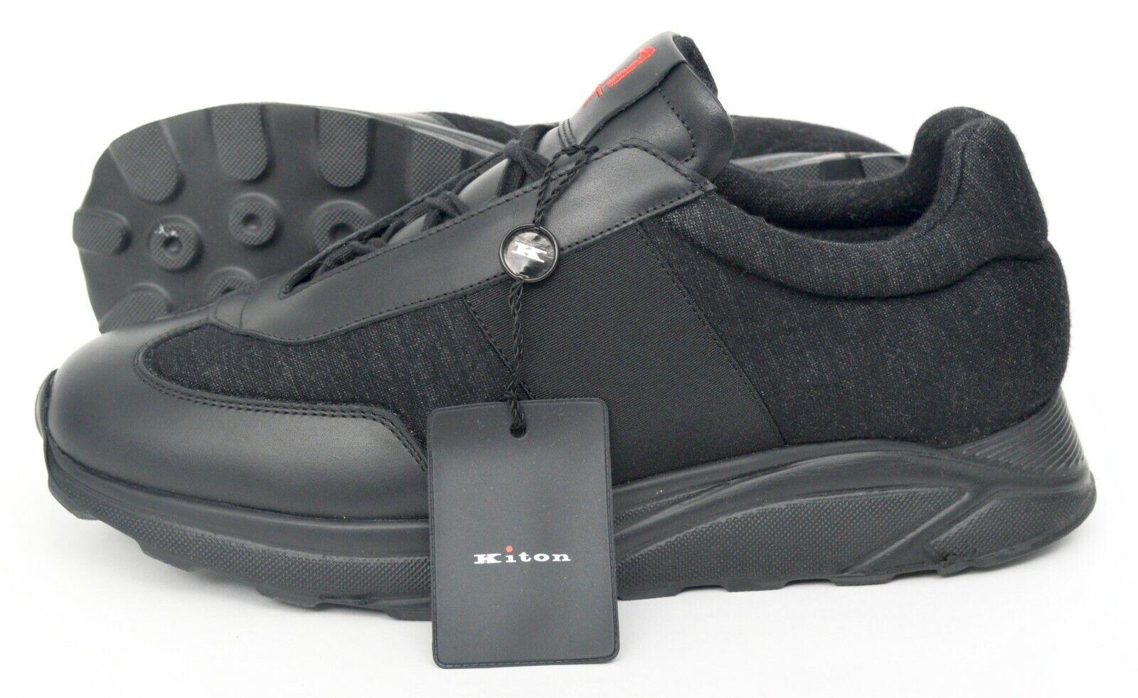 NIB KITON KNT +1 Plus Black Cashmere Leather Low Tops Shoes Sz. 8 (41)