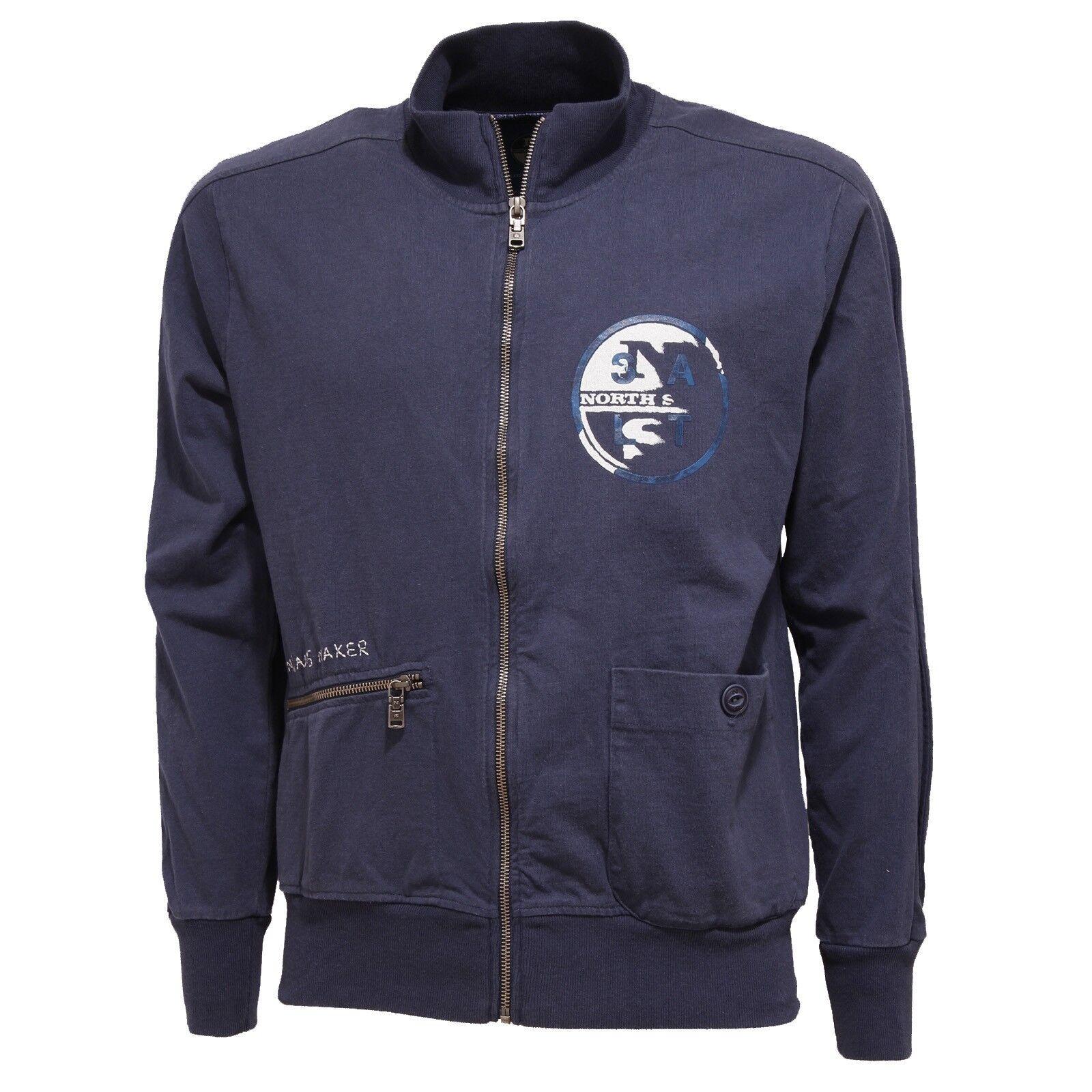 7724T NORTH felpa uomo NORTH 7724T SAILS blu delave  full zip coton  sweatshirt cotton men 134632 4354af7b969