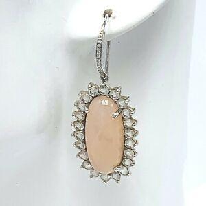 ZMR-Pink-Chalcedony-Gemstone-925-Silver-Drop-Dangle-Earrings