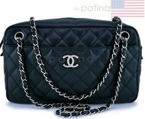 500aef3354b7 Image is loading Chanel-Black-Caviar-Large-Classic-Camera-Case-Bag-