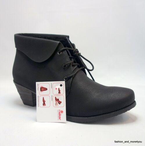 Rieker Antistress Ankle-Boots Stiefeletten zum Schnüren Boots Gr.37 schwarz Neuஜ
