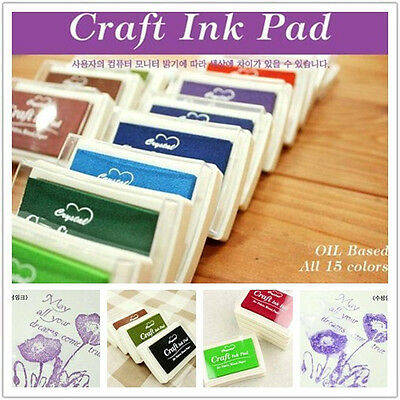 New 15 Colors mini cube ink stamp pad inkpad Rubber Stamp Game Fun