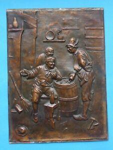 ! Metallbild Relief Kupfer Kupferblech Würfelspieler Zu wenig 245 x 180 mm
