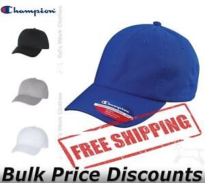 Champion-Mens-Washed-Twill-Dad-s-Cap-Hat-Baseball-CS4000-buckle-closure