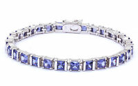 Best Seller 11.5ct Princess Cut Tanzanite .925 Sterling Silver Bracelet 7.5 on sale