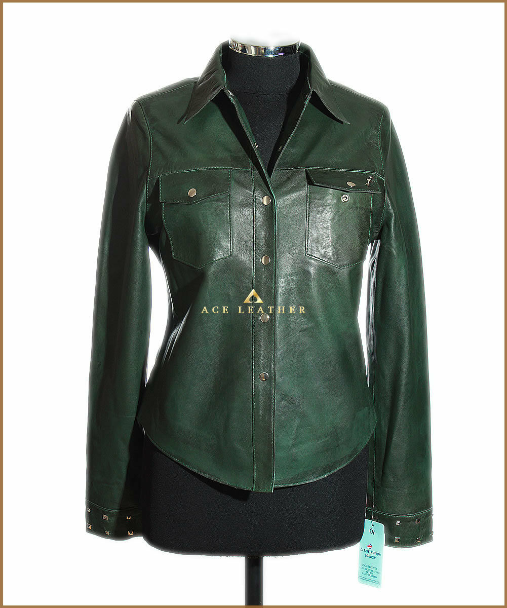 Yvonne Green Ladies Smart Casual Style Designer Real Soft Lambskin Leather Shirt