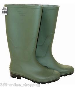 Niños verde de las Señoras Botas Wellington Wellies Pvc Impermeable Totalmente Forrado Talla 5 Reino Unido