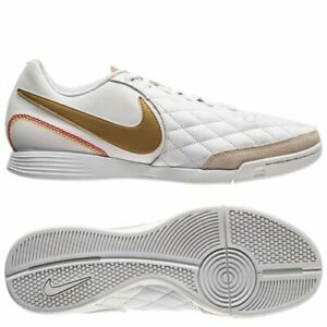 new photos ddbc0 ae7b5 Details about Nike Tiempo Ligera IV Ronaldinho 10R IC Indoor Soccer Leather  Shoes White-Gold