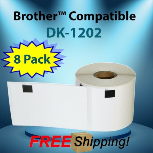 White Rectangular Shaped Labels DK-1202 Multipurpose Brother™ Compatible 8 Rolls