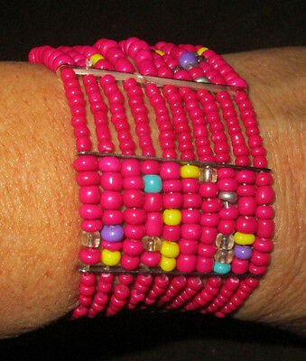Pink with Multi-Color Accent Bead Stretch Cuff Bracelet