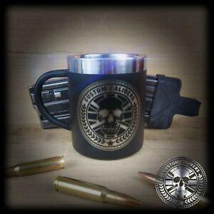 DOPPIA-parete-isolata-in-acciaio-inox-nero-opaco-Tazza-Da-Caffe-Te-Tazza-con-manico