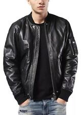 $698 NWT 2016 DIESEL L-KIT Black Leather Biker Bomber Jacket Men's XL