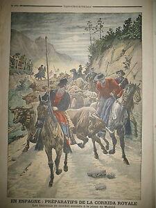 ESPAGNE-PLAZA-DE-MADRID-CORRIDA-ROYALE-TAUREAUX-ROI-REINE-LE-PETIT-JOURNAL-1906