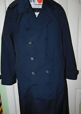 ALL WEATHER Double Breasted Navy Trench Over Coat Zip Out Liner Men's Size 42L