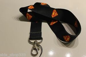 DC-comics-SUPERMAN-Lanyard-Neck-Strap-Keychain-ID-Badge-Holder-Black-shield