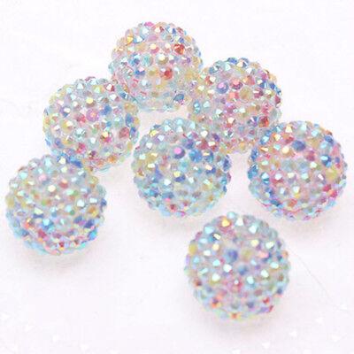 22mm 100pcs Rainbow Resin Rhinestone Easter Beads Charm Bracelet Necklace DIY