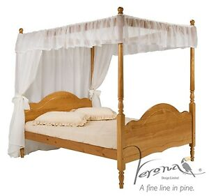 Veneza Four Poster Wooden Bed And Canopy Antique Solid