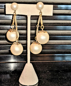 Big Pearl Imitation Plastic and Crystal Glass Beads Gold Cream Sterling Silver Drop Dangle Earrings Gift Idea Mature Classic