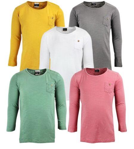 Le ragazze T SHIRT MAGLIA A MANICHE LUNGHE Dettaglio Indietro Kids cotone Casual T Shirt 3 -14 ANNI