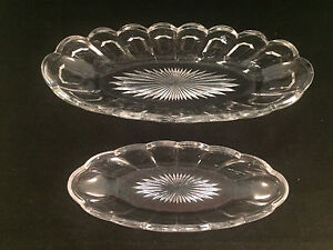 Lot-of-2-Glass-Scalloped-Serving-Bowls-Dishes-11-1-2-034-x-4-1-2-amp-9-1-2-034-x-3-1-2-034
