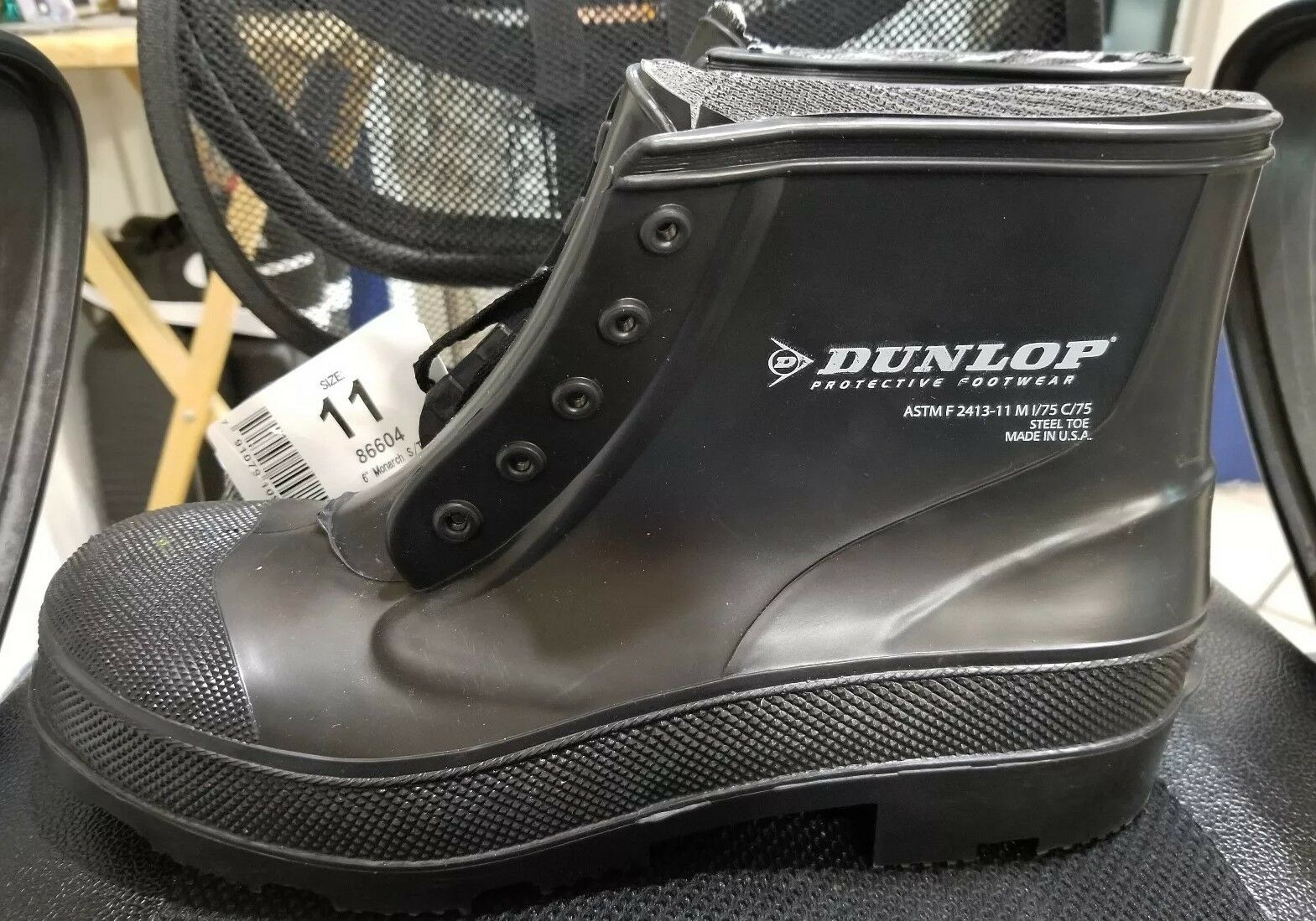DUNLOP PROTECTIVE FOOTWEAR PLAIN TOE w STEEL Stiefel MADE IN USA