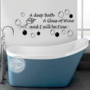 Bathroom Wall Sticker Deep Bath Glass Of Wine Quote With Bubbles