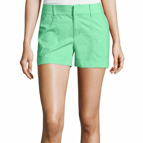 a.n.a Mid-Rise Utility Poplin Shorts Size 14 New Msrp $36.00 Cockatoo Green