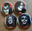Kiss Rookies cards 1974 Pin Back Badge Set Gene Simmons Paul Stanley