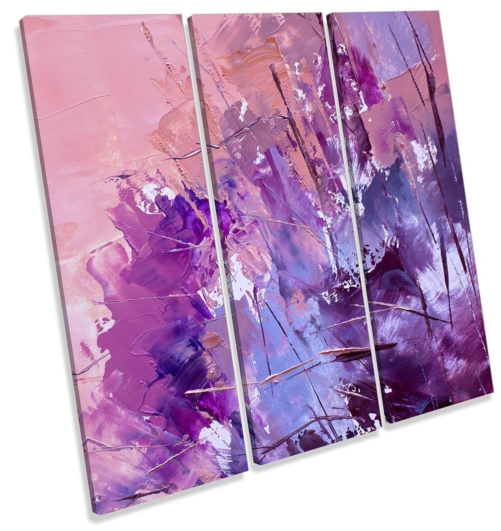 lila Abstract Paint Repro TREBLE CANVAS WALL ARTWORK Print Art