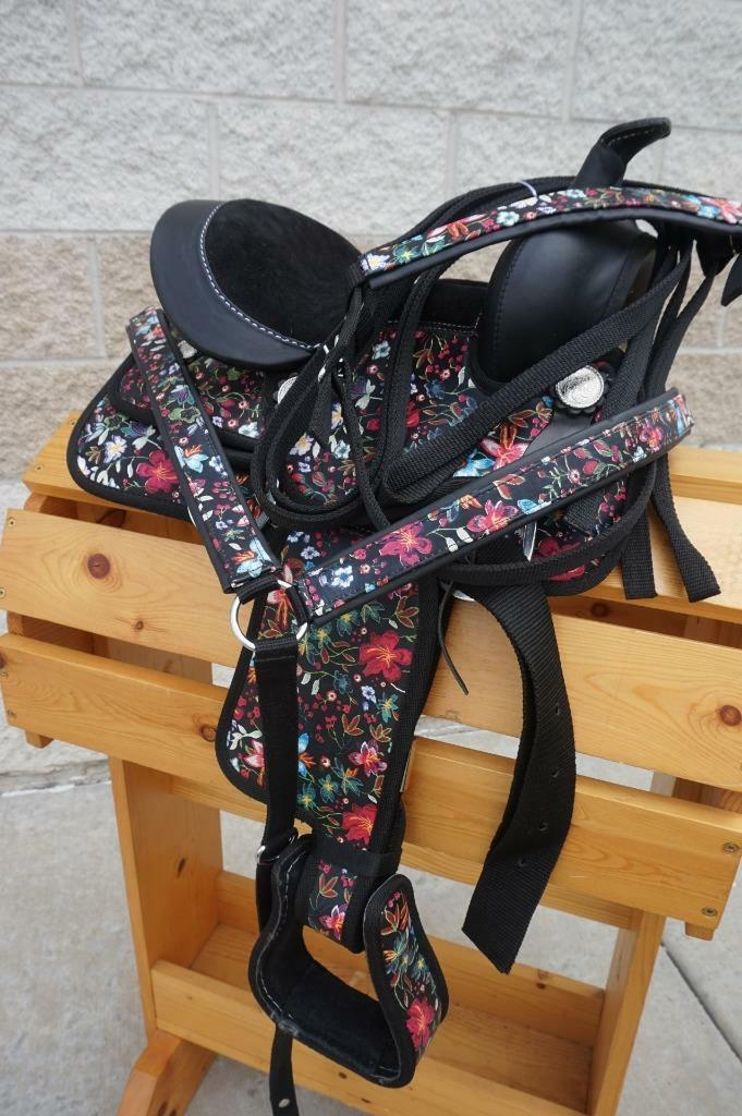 10  MINI PONY Silla de montar Western Sintético Trail leadline Negro Estampado Floral Regalo PK