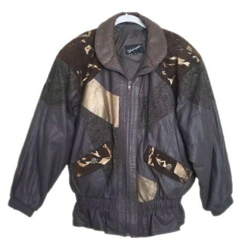 Medium Vintage 1980s Leather Jacket Coat Patchwork