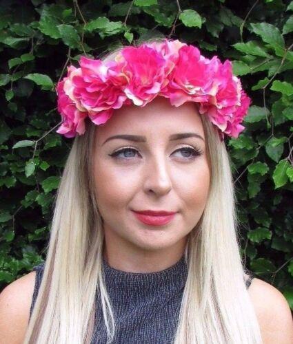 Hot Pink Peony Rose Flower Garland Headband Hair Crown Festival Boho Band 3056