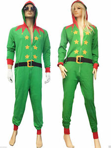 ADULT UNISEX MENS LADIES RED SANTA GREEN ELF NOVELTY CHRISTMAS JUMPSUIT