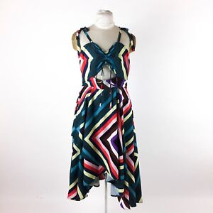 Eshakti-Rainbow-Striped-Dress-Sz-12-Fit-amp-Flare-Cut-Out-Tie-Front-Asymmetrical