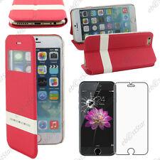 """Accessoire Housse Coque Etui S-View Flip Cover Rouge Apple iPhone 6 4,7"""" + Verre"""