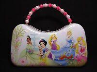 1 Disney Princess Metal Purse With Buckle & Bead Handle Light Pink & White 22460