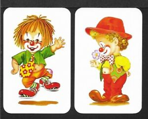 Swap-Playing-Cards-2-Single-Cards-CLOWNS-Modern-Blank-Back-MINT