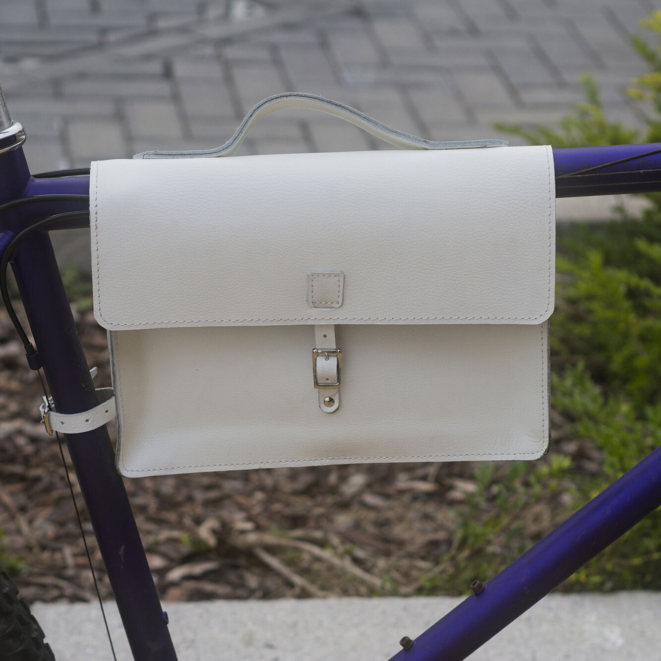 Bicycle Frame Satchel Bag Handcrafted Natural Leather WHITE 11.8 x8.1 x2.2