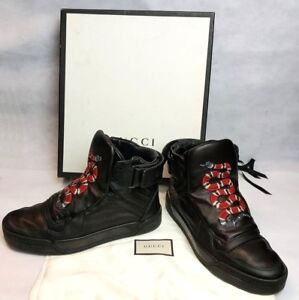 2712024cb8e 100% Authentic GUCCI High Top Leather Sneakers With Snake 8 / US 9 ...