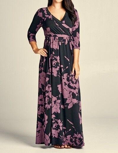 Emerald Floral Stretch Faux Wrap Long Maxi Dress schwarz lila Plus 1X 2X 3X New